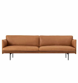 (DISPLAY) OUTLINE 3-SEATER SOFA IN COGNAC SILK LEATHER