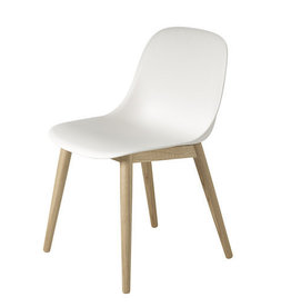 FIBER SIDE CHAIR, SHELL IN WHITE-WATER BASED LACQUER OAK LEGS