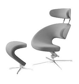 PEEL I SWIVEL LOUNGE CHAIR W/NECKREST &  FOOTREST IN FABRIC