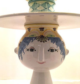 5PC HAND PAINTED CERAMIC VASE-MAIDEN W/ BRIMMED HAT
