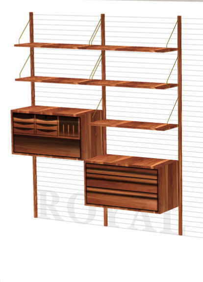 ROYAL SYSTEM SHELVING UNIT WITH WORK DESK AND DRAWERS