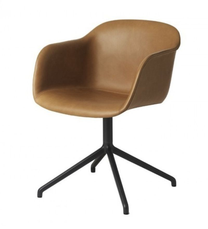 FIBER ARMCHAIR SHELL UPHOLSTERED IN COGNAC SILK LEATHER