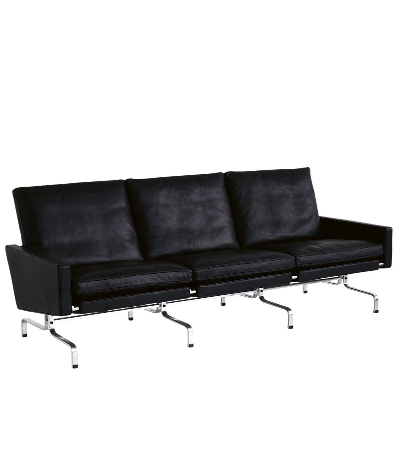 PK31/3 3-SEATER SOFA IN BLACK ELEGANCE LEATHER