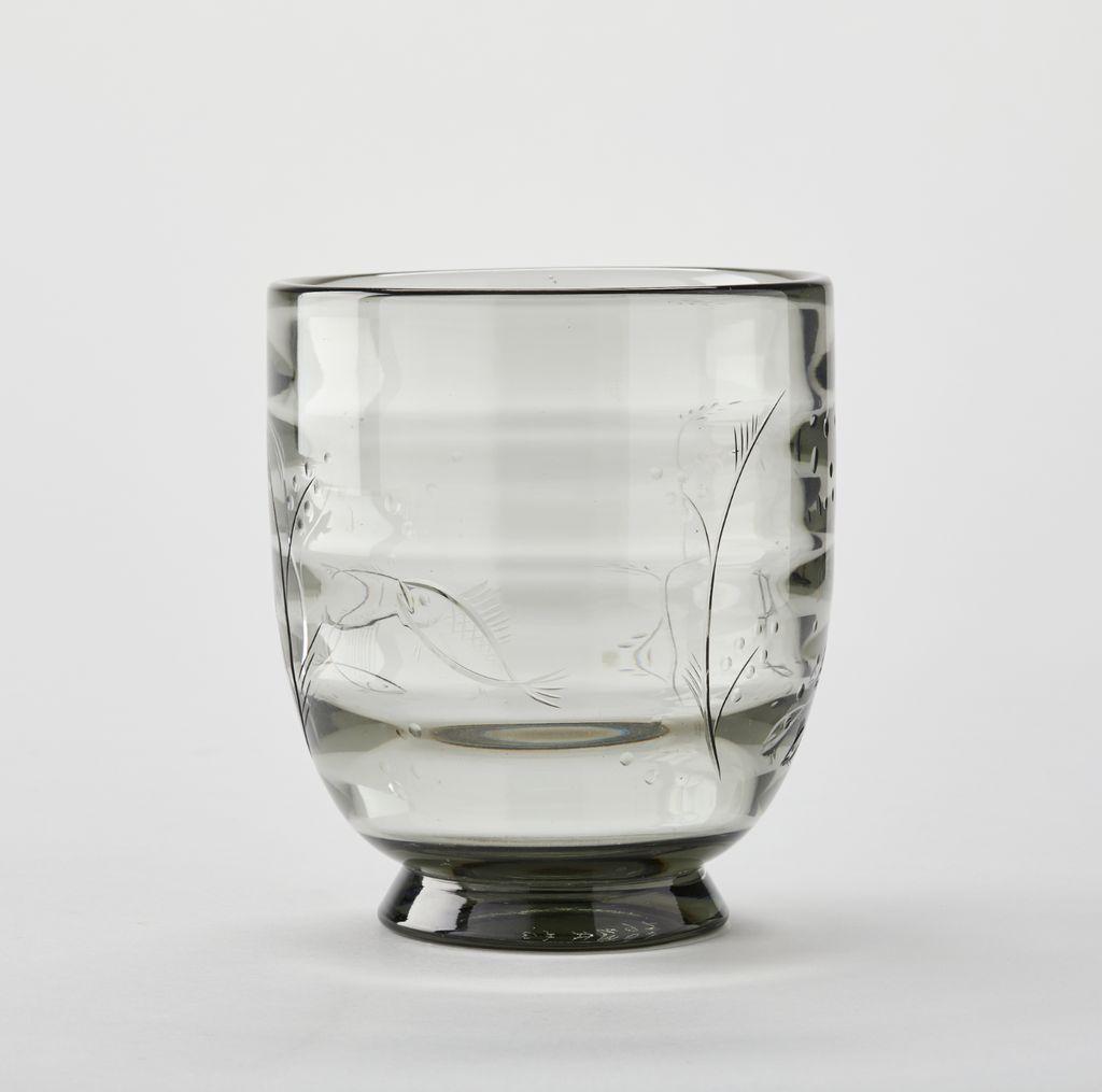 1930'S ORREFORS SMOKE RIPPLED GREY GLASS VASE
