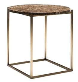 CIRCLE OCCASIONAL TABLE IN DARK EMPERADOR MARBLE