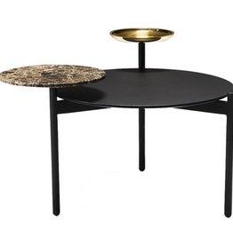 (SHOWROOM ITEM) DISC COFFEE TABLE IN BLACK LINOLEUM, MARBLE & BRASS
