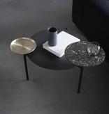 WENDELBO DISC COFFEE TABLE IN BLACK LINOLEUM, MARBLE & BRASS