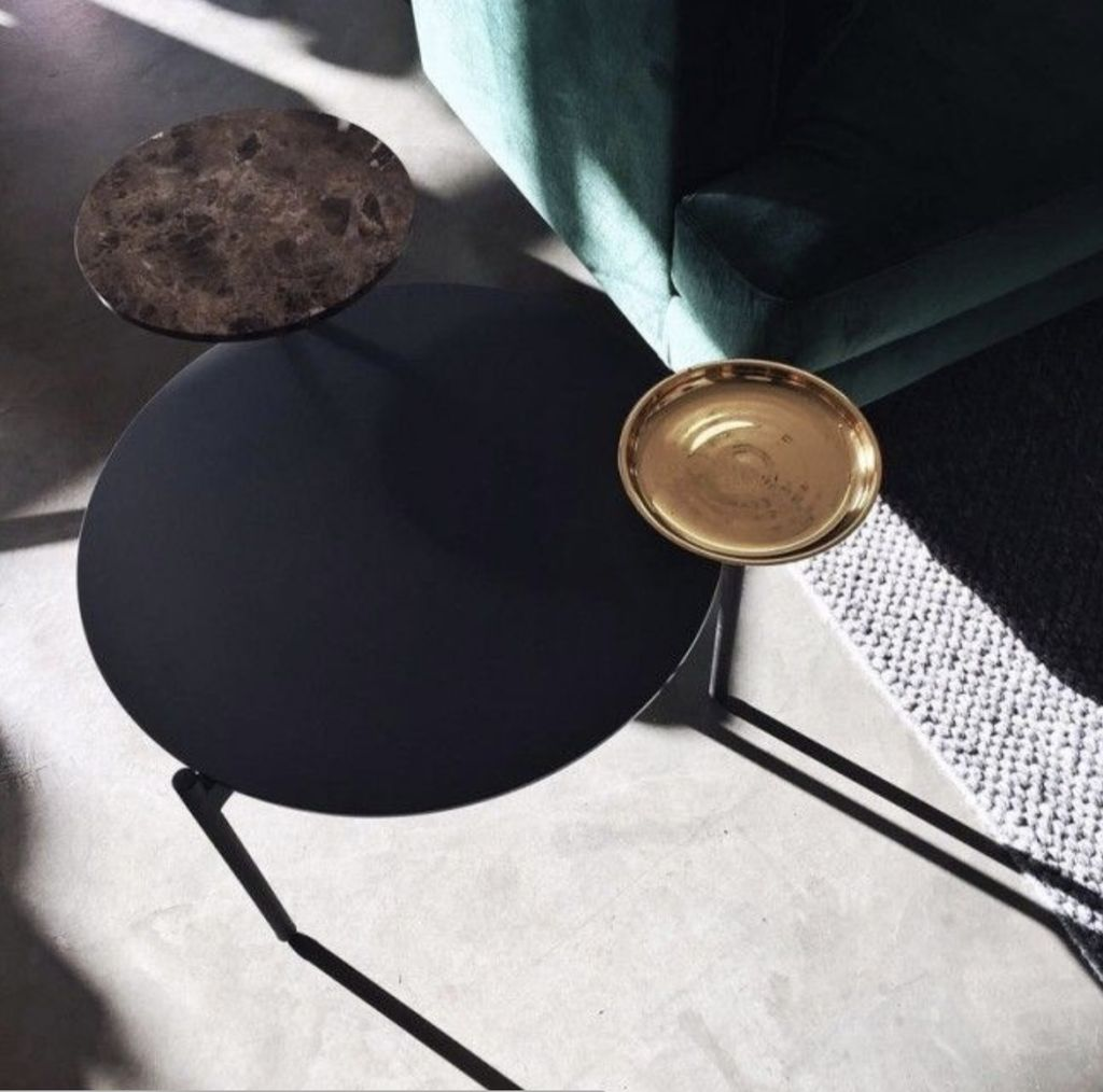 (SHOWROOM ITEM) DISC COFFEE TABLE IN BLACK LINOLEUM, MARBLE & BRASS