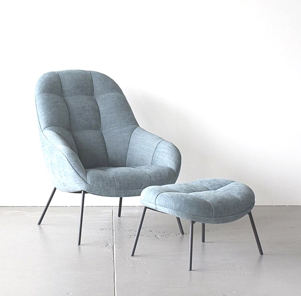 MANGO LOUNGE CHAIR IN ICE BLUE FABRIC