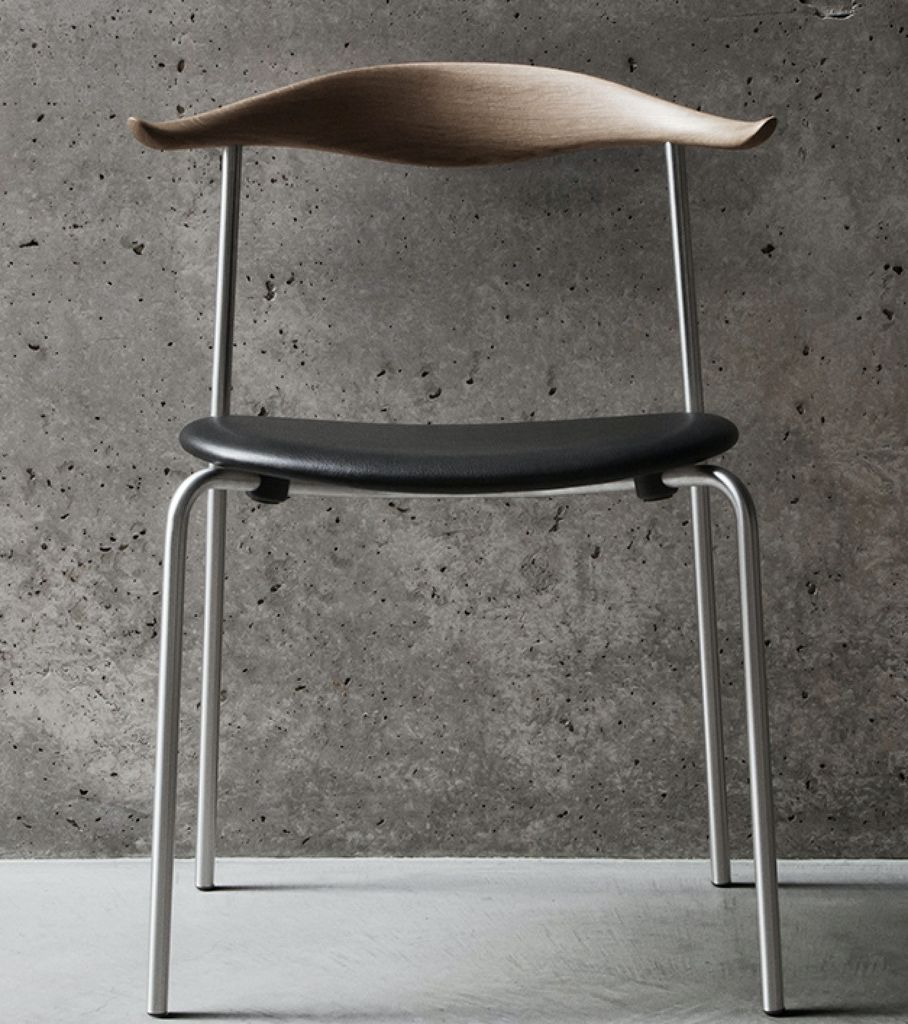 4 x CH88P DINING CHAIR IN OIL OAK WITH THOR LEATHER SEAT