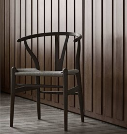 4 x CH24 WISHBONE DINING CHAIR IN SMOKED OAK WITH PAPERCORD SEAT