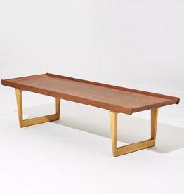 1950's TEAK TOP COFFEE TABLE ON BIRCH LEGS BY BORGE MOGENSEN