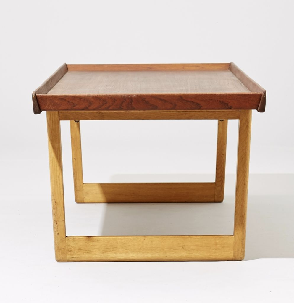 1950 S Teak Top Coffee Table On Birch Legs By Borge Mogensen