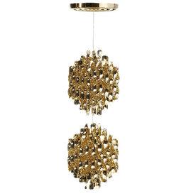 (DISPLAY) SPIRAL SP2 HANGING LAMP W/2 CLUSTERS OF GOLD SPIRALS (DISPLAY ITEM)