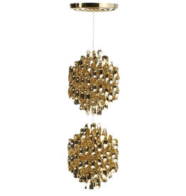 (SHOWROOM ITEM) SPIRAL SP2 HANGING LAMP W/2 CLUSTERS OF GOLD SPIRALS