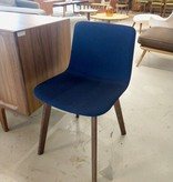 PATO WOOD CHAIR, FULLY UPHOLSTERED IN BLUE FABRIC