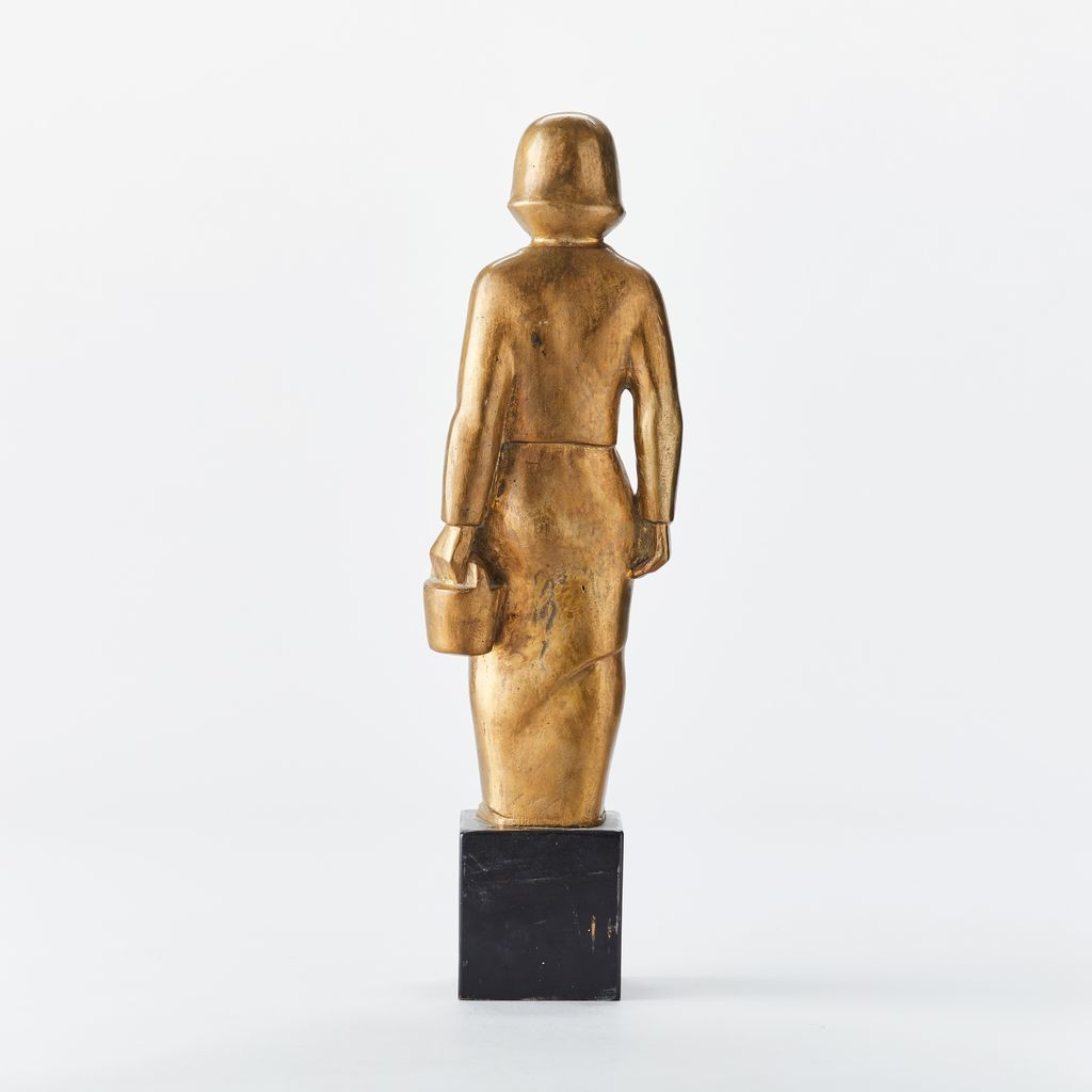 "1920s GOLD PLATED BRONZE OF ""WOMAN WITH PAIL"" ON WOODEN STAND"