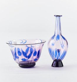 GRAAL VASE & BOWL WITH PURPLE FLORAL MOTIF