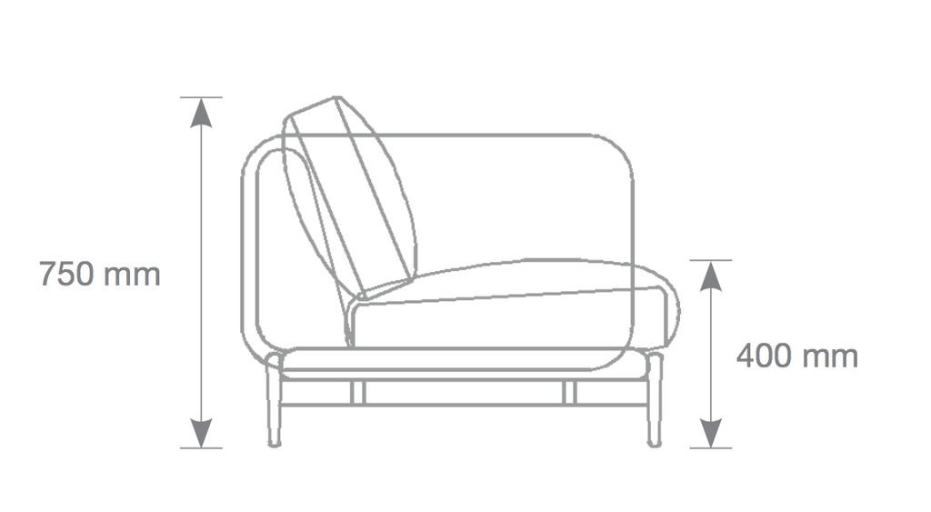 HOLD 三坐位冰藍色布料沙發
