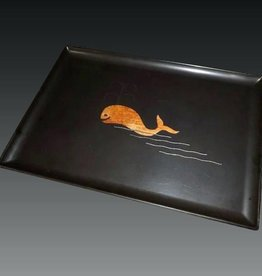 1960s BAKELITE COUROC TRAY WITH INTARSIA INLAY OF A WHALE