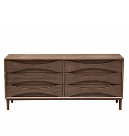 AV08 LOWBOY CHEST OF 6 DRAWERS IN WALNUT WOOD