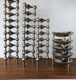 1970s CHROMED 32 PIECE CANDLESTICK SCULPTURE