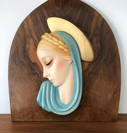 C1930's CERAMIC WALL PLAQUE OF MADONNA