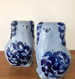 """PAIR OF LIGHT BLUE & COLBALT GLAZE DOGS IN """"STAFFORDSHIRE STYLE"""""""