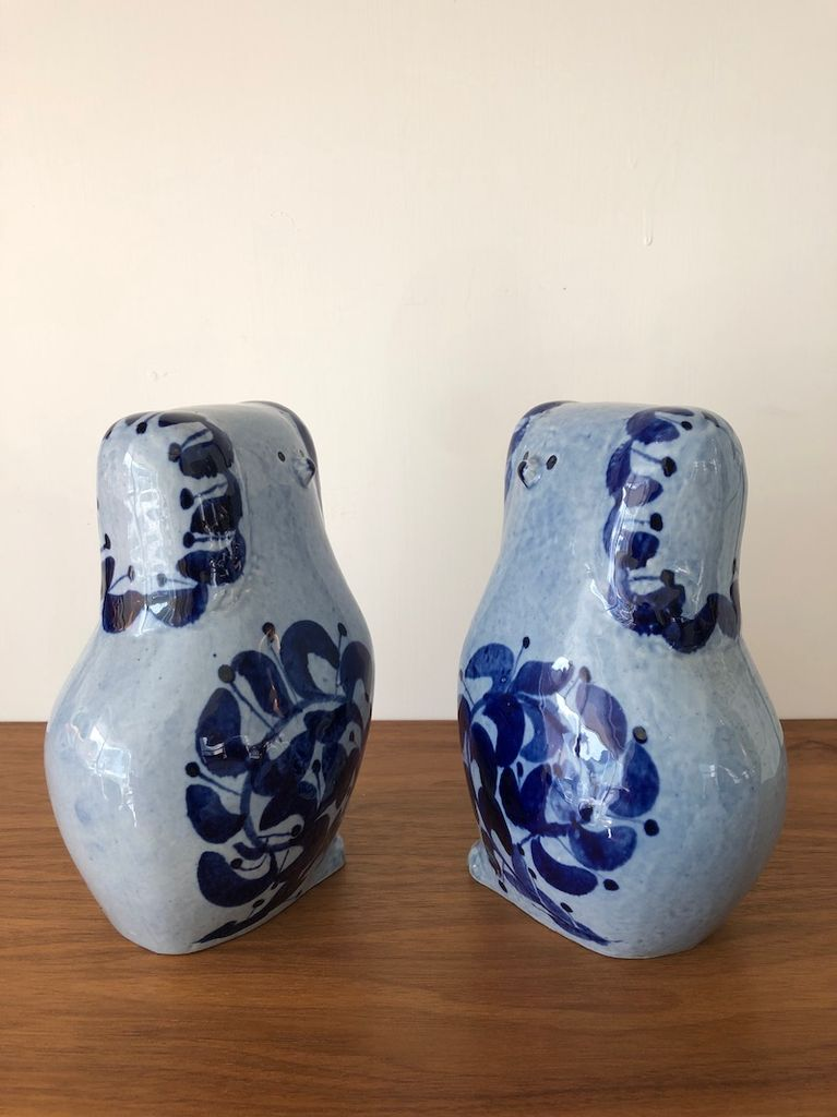 "PAIR OF LIGHT BLUE & COLBALT GLAZE DOGS IN ""STAFFORDSHIRE STYLE"""