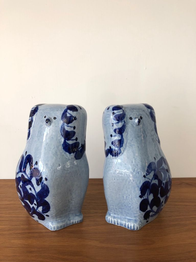 "PAIR OF LIGHT BLUE & COLBALT GLAZE DOGS IN ""STAFFORSHIRE STYLE"""