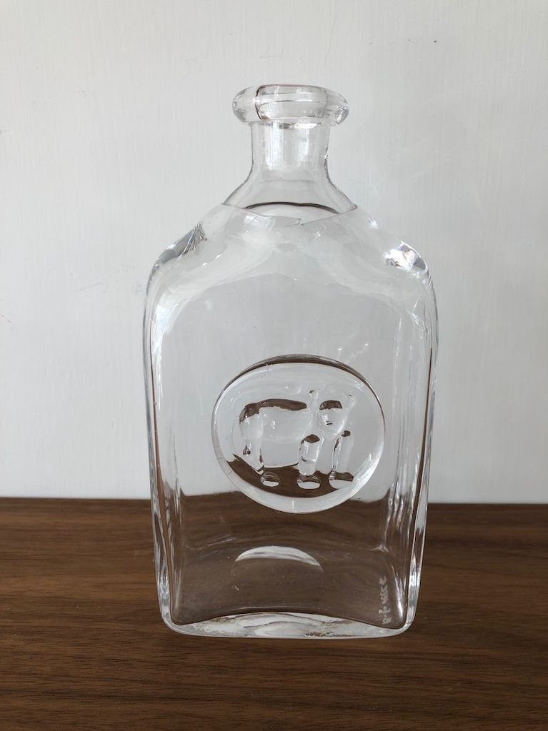 1960's HOGLUND 猴子图案的透明玻璃瓶