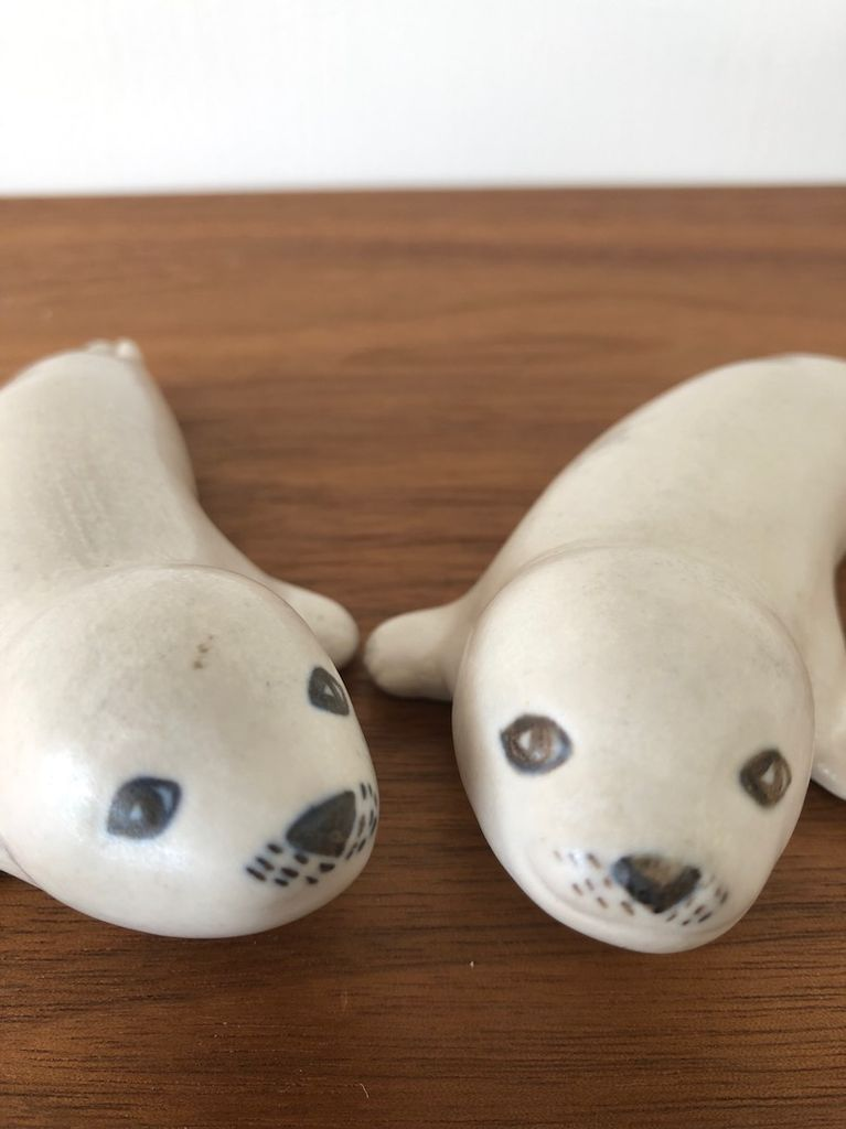 PAIR OF KAHLER SEAL PUPS BY HERMAN A KAHLER