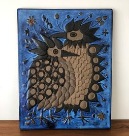 1960's CERAMIC WALL PLAQUE OF 2 BIRDS