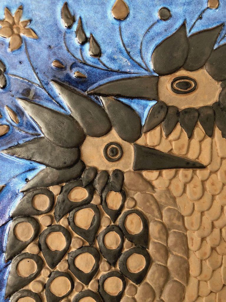 1960's CERAMIC WALL PLAQUE OF 2 BIRDS