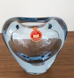 1950's PALE BLUE GLASS LARGE HEART VASE