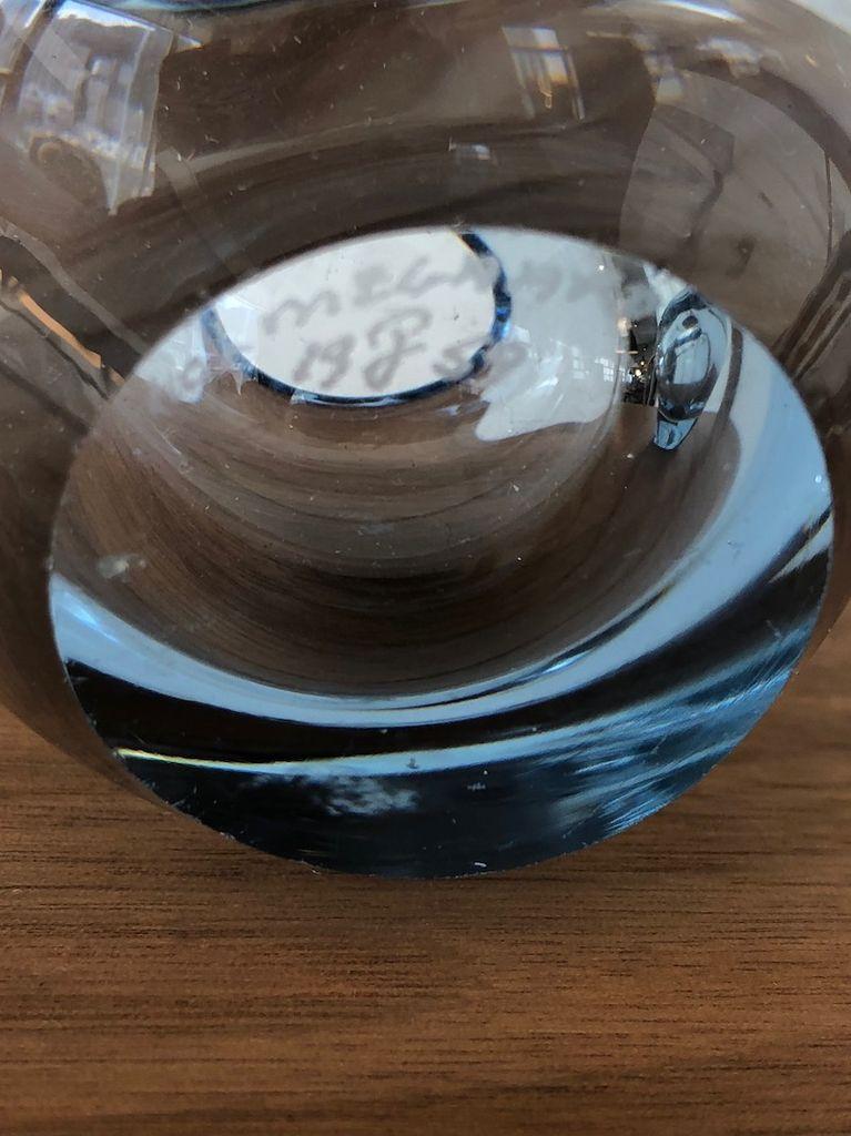 1950's PALE BLUE GLASS LARGE HEART VASE