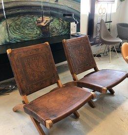 1960年代皮革摺椅一对
