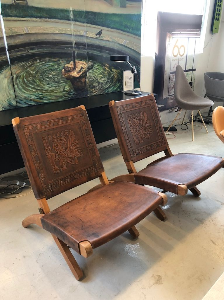 PAIR OF 1960's FOLDING LEATHER CHAIRS