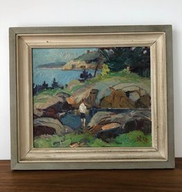 1940 FRAMED OIL ON PANEL OF BOY PLAYING BY BORNHOLM ISLAND POND