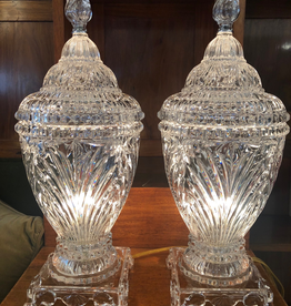 PAIR OF CUT CRYSTAL LIDDED LAMP URNS WITH FLAMED FINIAL TOP