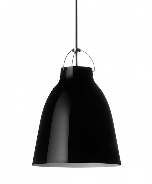 CARAVAGGIO STEEL PENDANT LIGHT IN BLACK HIGH GLOSS LACQUER