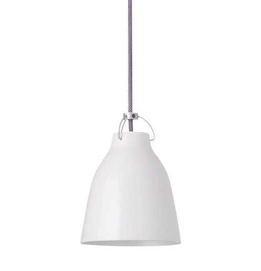 CARAVAGGIO STEEL PENDANT LIGHT IN WHITE HIGH GLOSS LACQUER