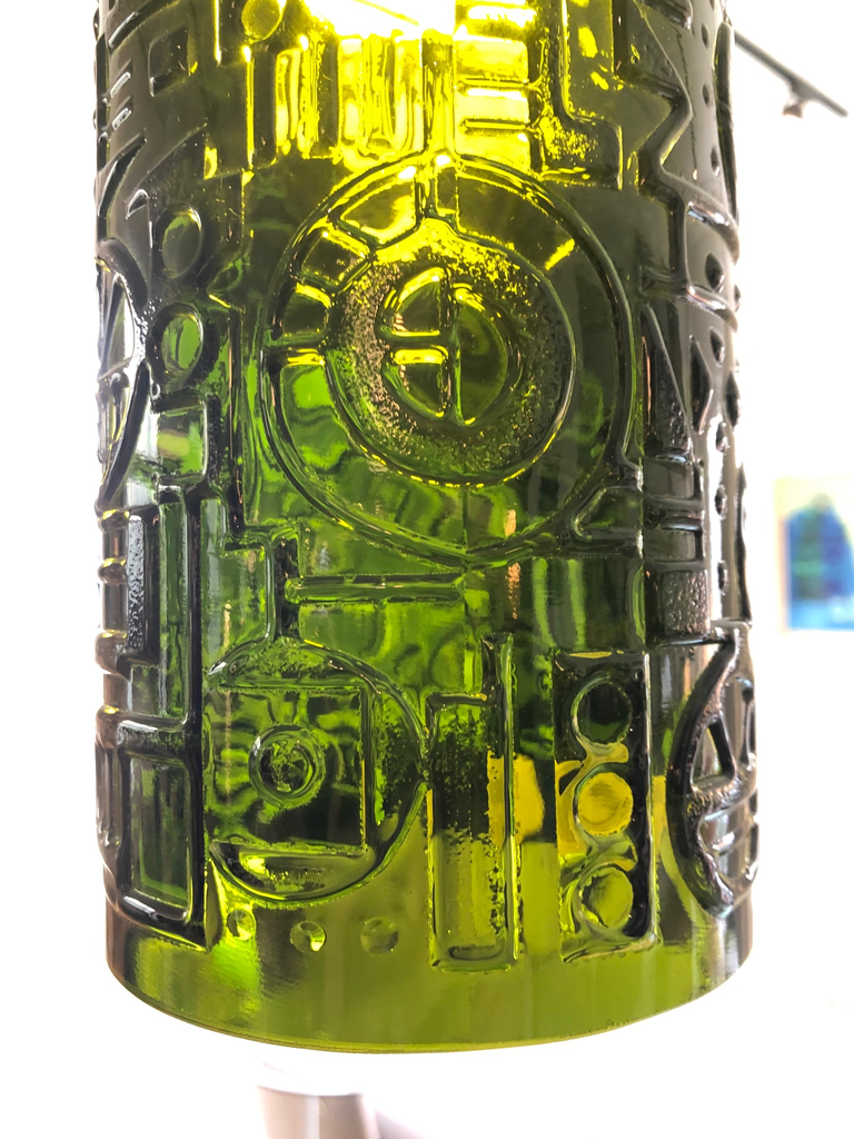 PAIR OF 1960's MOSS GREEN STUDIO GLASS PENDANT LIGHTS