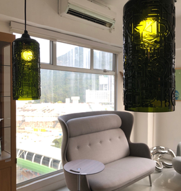 PAIR OF 1960's MOSS GREEN STUDIO GLASS PENDANT LIGHTS