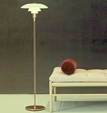 PH 3 1/2-2 1/2 FLOOR LAMP, MOUTH BLOWN WHITE OPAL GLASS WITH BRASS FINISH