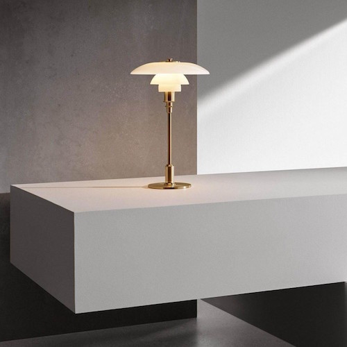 PH 3/2 TABLE LAMP, MOUTH BLOWN WHITE OPAL GLASS WITH BRASS FINISH