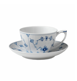 ROYAL COPENHAGEN BLUE FLUTE PLAIN CUP AND SAUCER 28CL