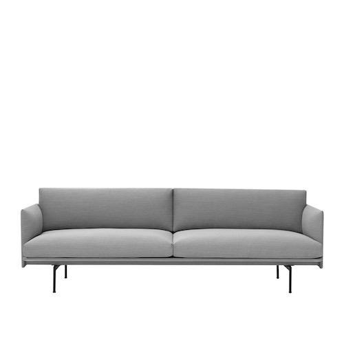 OUTLINE 3-SEATER SOFA IN GREY/STONE LEATHER