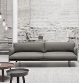 OUTLINE 石灰色皮革三坐位沙发