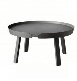 AROUND 深灰色亮漆白立木大咖啡桌